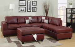 Red Leather Sectional Sofas With Ottoman