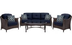 Wicker 4Pc Patio Conversation Sets With Navy Cushions
