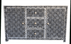 Geo Pattern Black And White Bone Inlay Sideboards