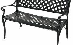 Ismenia Checkered Outdoor Cast Aluminum Patio Garden Benches