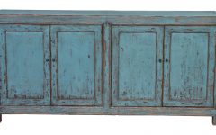 Reclaimed Pine Turquoise 4-Door Sideboards