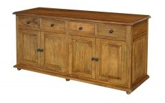 Mango Wood Grey 4-Drawer 4-Door Sideboards
