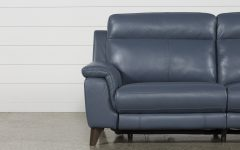Moana Blue Leather Power Reclining Sofa Chairs With Usb