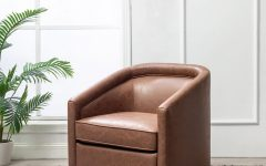 Hazley Faux Leather Swivel Barrel Chairs