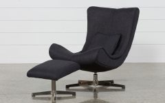 Amala Dark Grey Leather Reclining Swivel Chairs