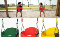 3-Person Red With Brown Powder Coated Frame Steel Outdoor Swings