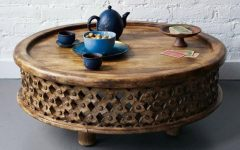 Round Carved Wood Coffee Tables