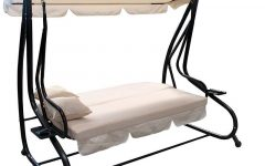 Canopy Patio Porch Swings with Pillows and Cup Holders