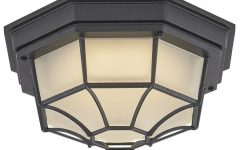 Whisnant Black Integrated Led Frosted Glass Outdoor Flush Mount