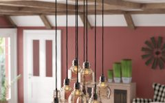 Pruett Cognac Glass 8-Light Cluster Pendants
