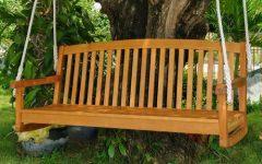 3-Person Light Teak Oil Wood Outdoor Swings